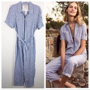 ANTHRO✨Cartonnier Striped Linen Jumpsuit sz S